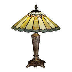 Meyda Tiffany - Meyda Tiffany Lamps Table Lamp in Copperfoil - Shown in picture: Jadestone Carousel Accent Lamp; Thinly Carved And Polished Natural Jadestone In Earthy Tones Of Moss Green - Tan - And Coral - Become Luminescent In This Charming Scalloped Edged Shade. The Stone Shade Is Crafted With The Same Copperfoil Process That Is Used On Stained Glass - Tiffany Style Shades. A Mahogany Bronze Finished Base Completes This Precious Accent Lamp.