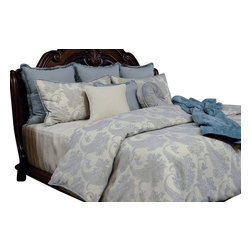Wedgwood Duvet Set, Ultra King - A soft Iceberg Blue paisley pattern on light linen fabric with a matching brushed fringe giving a simple but elegant look.