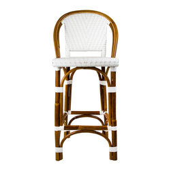 "White Mediterranean Bistro Bar Stool with Back (26"" h. seat) - These rattan-framed stools are part of the iconic French bistros of Le Midi, or the south of France. Hand-woven and artisan crafted, these French style bistro bar stools in bright synthetic material, will add a pop of color to your outdoor or indoor space."