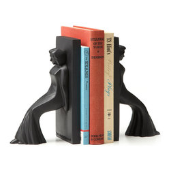 Contemporary Stone Ressin Leaning Ladies Bookends - Books can be heavy-in their weight as well as their subject matter-so why not support those massive masses of words on your shelf with a pair of equally substantial bookends? Modeled in the spirit of the Machine Age, these retro-classic ladies are no shrinking violets. Their strong deco forms reflect their durability and power to keep your tomes from toppling so you can remove a book without worrying about throwing the rest off balance. Designed by Chris Collicott. Made in Taiwan.