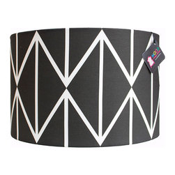 "Mood Design Studio - Modern Drum Lamp Shade - Black and White Geometric Diamonds, 16"" - Mood Design Studio brings bold, modern, and colorful accessories into your home. All of our designs begin on paper by sketching ideas for fabric collections. We research color trends and mix in inspiration from the fashion runways as well as from our favorite mid century design books. Our fabrics are printed in the USA using eco friendly dyes and printing methods."