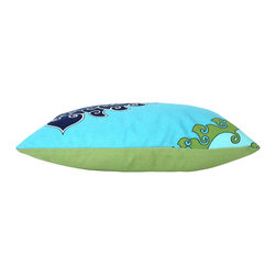 The Pillow Studio - Outdoor Blue and Green F Schumacher Super Paradise Print Outdoor Pillow Cover - I love this outdoor fabric by Trina Turk and its adds a bit of fun when the pattern is placed off center... makes me think of summer