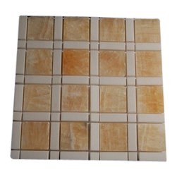 "Aperture Pattern Honey Onyx 2x2 White Line 1/2""X2"" White Dot 1/2'X1/2' - APERTURE PATTERN HONEY ONYX 2 1/4 x 2 1/4 WHITE LINE 2"" WHITE DOT 3/4""X3/4"" MARBLE TILE This hand-made window patterns are made from stone mosaics, each piece fits into the next like a perfect puzzle. Its stunning design of the honey onyx with white line and dot will bring warmth and a natural ambience to your home. The mesh backing not only simplifies installation, it also allows the tiles to be separated which adds to their design flexibility. Chip Size: Aperture Pattern Honey Onyx 2 1/4 x 2 1/4 WhiteThassos Line 2"",White Thassos Dot 3/4"" x 3/4"" Color: Honey Onyx and White Thassos Material: Honey Onyx and White Thassos Finish: Polish Sold by the Sheet - each sheet measures 12"" x 12"" (1 sq. ft.) Thickness: 8mm"