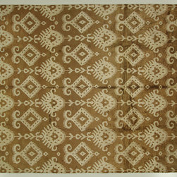 Manhattan Rugs - One-of-a-Kind Brown/Ivory Ikat Hand Knotted Bamboo Silk Pile 8x10 Area Rug H6463 - This Is a True Hand Knotted Oriental Rug. It Is Not Hand Tufted with Backing, Not Hooked or Machine Made. Our Entire Inventory Is Made of Hand Knotted Rugs. (All We Do Is Hand Knotted)