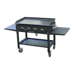 Blackstone - 36 Inch Base and Griddle - The Blackstone 36 inch Griddle is the most enjoyable griddle that you will ever buy. The thick rolled steel surface of the griddle retains heat and distributes it evenly across the surface.  The griddle