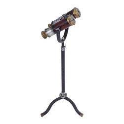Benzara - Classic Style Free Standing Binoculars and Old Look Brass - Classic Style Free Standing Binoculars and Old Look Brass