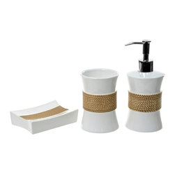 Gedy - Iris White Pottery Bathroom Accessory Set - Stylish, trendy 3-piece bathroom accessory set which includes toothbrush holder, soap dispenser, and soap dish.
