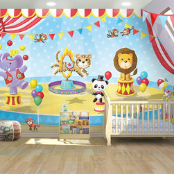 Animal Circus Mural: 14'w x 8'h - 14'w x 8'h.  Other sizes available.  Step right up - the circus is in town! The panda ringmaster directs the action of a seal, tiger, monkeys and a bear on a unicycle in this colorful mural. This mural comes in two sizes, however custom sizes can be requested, as well as custom placement of some of the circus animals to accommodate windows and doors. The artwork is based on an original mural by artist Glennis McClellan.