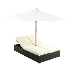 Modway Furniture - Modway Arrival Chaise in Espresso White - Chaise in Espresso White belongs to Arrival Collection by Modway Life is full of first glimpses with the dual lounge Arrival set. Center your thoughts on uplifted efforts as you embark on pursuits both peaceful and grand. With recline adjustable chaise lounges, and an easy fold umbrella that provides shade from the sun, Arrival is a piece of stellar resolve. Arrival is comprised of UV resistant rattan, a powder-coated aluminum frame and all-weather cushions. The set is perfect for cafes, restaurants, patios, pool areas, hotels, resorts and other outdoor spaces. Set Includes: One - Arrival Outdoor Dual Chaise Dual Chaise Lounge (1), Umbrealla (1)