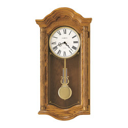 Howard Miller - Howard Miller Golden Oak Dual Chime Wall Clock with Pendulum | Lambourn II - 620222 Lambourn II