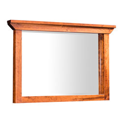 B&O Trestle Bridge Mirror for Mule Chest - Shown in character cherry with Michael's stain. Custom made in your choice of 8 American hardwoods available in 18 different finishes.