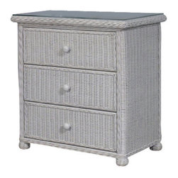 Wicker Paradise - Wicker 3 Drawer Dresser - Elana - This chest of drawers is framed on wood and features drawers that roll in and out with a touch. Rounded corners, bun feet, waterfall top, and a smooth to the touch finish make this a most distinctive piece of furniture made to last.