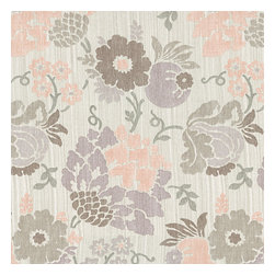 Lavendar & Pink Stencil Floral Linen Fabric - Feminine stenciled floral in pastel pink, purple & taupe on a softly heathered linen ground. So serene, you'll want to relax & smell the flowers.Recover your chair. Upholster a wall. Create a framed piece of art. Sew your own home accent. Whatever your decorating project, Loom's gorgeous, designer fabrics by the yard are up to the challenge!