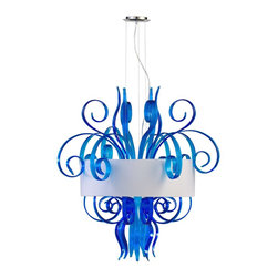 Cyan Design - Cyan Design Jellyfish Modern / Contemporary Cyan 8-Light Pendant X-79340 - Enjoy the fun, vibrancy, exuberantion, and sophisticated styling of this contemporary wall pendant. The white shade provides a welcome contrast and a clean and friendly glow for your living room, kitchen, dining room, den, or lounge. The Blue Murano style glass and silver finish glows with fresh vitality and the high detail of the blown glass is a testament to the brilliance of the glass artisans. Enjoy this rendering of a jellyfish.