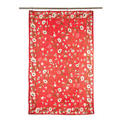De-Cor - Kashmiri Crewel Embroidered Tapestry or Area Rug, Coral with White Flowers - A vibrant and stunning floral tapestry with one-of-a-kind folk craftsmanship. Exquisite wool thread chain stitch hand-embroidery covers every inch of the base cotton canvas fabric. This tapestry can also be used as a rug.