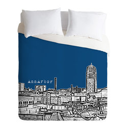 DENY Designs - Bird Ave Ann Arbor Navy Duvet Cover - Turn your basic, boring down comforter into the super stylish focal point of your bedroom. Our Luxe Duvet is made from a heavy-weight luxurious woven polyester with a 50% cotton/50% polyester cream bottom. It also includes a hidden zipper with interior corner ties to secure your comforter. it's comfy, fade-resistant, and custom printed for each and every customer.