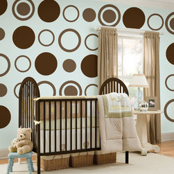 """Espresso-Concentric Dots Set of Wall Decals - Just what the name implies...a warm, rich and comforting brown. This pack includes eight 13"""" Espresso Brown dots and eight 13"""" Espresso Brown concentric dots (24 pieces total). All WallPops are repositionable and always removable."""