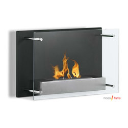 Moda Flame - Moda Flame Epila Wall Mounted Ethanol Fireplace - Epila contemporary fireplace offers a decorative black steel backdrop with a elusive glass front. The Epila ethanol fireplace casts a stylish yet sleek element to any room while bring environs from the flame of a real fire.