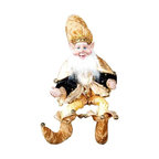 Winward Designs - Eclectic Dwarf Elf - Adorable dwarf elf figurine that is needed to complete your holiday decorations this year! Made of resin (head & hands) and premium fabrics.