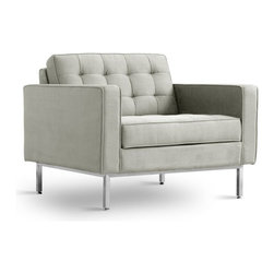 """Gus Modern - Gus Modern Spencer Chair - Flannel suede Fawn - Here's a piece that puts the """"ahhh!"""" in armchair. Sturdy and stylish, plush yet firm  and upholstered in a sumptuously soft fabric, it'll make you feel so glad you're home."""