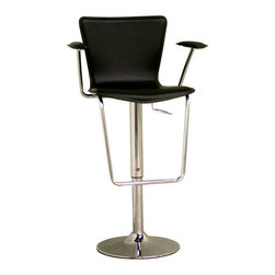 Wholesale Interiors - Black Bonded Leather Adjustable Bar Stool - Add a contemporary look to your home bar or kitchen with this adjustable barstool. Barstool features durable steel construction and will last for years to come. Smooth, ergonomic black bonded leather seat with a gas hydraulic lift. Something special about this bar stool are the padded arm rests which will make sitting much more comfortable.