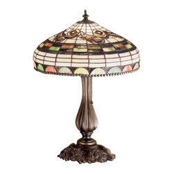 """Meyda Tiffany - 19.5""""H Tiffany Edwardian Accent Lamp - Graceful scrolls, bands and gothic arches of Cerise streaked Moss Green glass are accented with touches of muted Aubergine rippled glass on a Bone Beige grid in this classic Tiffany Edwardian style copper foil shade. A metal bead circles the stained glass shade edge of the elegant accent lamp that is hand finished in Mahogany Bronze."""