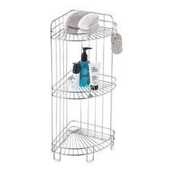 Organize It All - 3 Shelf Corner Caddy Multicolor - 1755-1 - Shop for Closet from Hayneedle.com! The 3 Shelf Corner Caddy is great for any bathroom that needs a little organizing. You can store all of your bathroom essentials on this unit's three metal wire shelves with rails -- from hand towels to lotions and gels to styling products. It stores unassumingly in any corner of your bathroom for a modern organized look. It features a lightweight durable metal frame with a chrome finish. Dimensions: 11.5W x 9D x 24H inches.About Organize It AllOrganize It All offers a great selection of storage solutions and organization furniture for the home. Created with masterful designs and constructed with top quality materials the company is dedicated to providing convenient and great looking storage solutions for every room in the home.Organize It All was established in 1986 with a mission to empower people to organize their lives. It is the company's belief that in a well-organized environment life is more enjoyable. The company's product line includes over 500 products designed for everyday use in the home and consists of several categories of practical items for home storage and organization. From kitchen to office bath to closet Organize It All offers an affordable solution for all storage needs.
