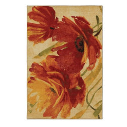Mohawk Home - Mohawk Connexus Flamboyant Tan Floral 2' x 5' Rug (11321) - This fashion forward printed rug is very durable and vibrant. The abstract floral design and combination of red and orange tones are achieved through technological advances in machinery and nylon. Printed on the same machines that manufacture one of the world