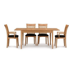 "Copeland Furniture - Sarah 66"" - 90"" Extendable Dining Table - The Sarah Dining Room exhibits the clean lines and balanced proportions of its Shaker influence. Features: -Clear finish that is silky, smooth to the touch, still tough enough to stand up to the wear and tear of daily family activities. -Natural hardwoods have specific characteristics that make them warm and appealing to the eye. -Swirls, knots and burls are some characteristics that contribute to the natural beauty of finely crafted hardwood furniture. -Hardwoods oxidize, or change color, from exposure to direct light. -Color of the wood will deepen over time and take on a warm glow and soft patina. -Preserve the beauty of the finish, simply clean the surface of the furniture with a soft damp cloth and then dry it thoroughly. -Care over the years to come will not require oil, polishes or cleaners."