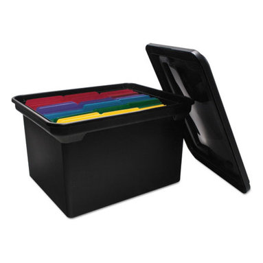 Advantus - Advantus File Tote Storage Box w/Lid , Legal/Letter, Plastic, Black - A practical solution to your filing needs. Detachable snap-lock lid fits securely. Molded carry handles make for easy transportation. Built-in rails hold letter or legal size hanging file folders (not included).