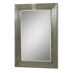 """Carolyn Kinder - Carolyn Kinder Rashane Framed Wall Mirror X-83670 - Lightly stained, silver-champagne aluminum frame with decorative nail head trim. Mirror features a generous 1 1/4"""" bevel. May be hung horizontal or vertical. Shown with Item #24290."""