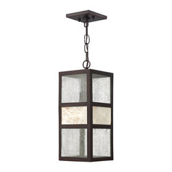 Hinkley Lighting - Sierra Outdoor Hanging Lantern - Sierra features a solid aluminum construction and is complemented by panels of clear seedy glass and natural stone. Rustic Spanish Bronze finish. Comes with 60 in. of chain and 72 in. of leadwire for installation. 4.5 in. Diameter Canopy.