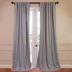 Half Price Drapes - Casablanca Blue 50 x 84-Inch Blackout Curtain - - You will instantly fall in love with our blackout curtains & drapes. The fabric is super soft with a refined texture made with a special polyester yarn. These curtains keep the light out and provides optimal thermal insulation  - Single Panel  - Weighted  - Pole Pocket  - Cleaning/Care: Dry Clean Half Price Drapes - BOCH-KC26-84