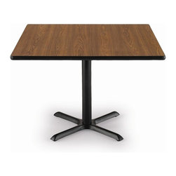 KFI Seating - 42 in. L x 42 in. W Square Pedestal Table w X - Finish: Medium Oak42 in. Square pedestal table. High pressure laminate top with a t-mold edge. The X-base and column are powder-coated black and made of steel. Pictured in Medium Oak top finish. 42 in. L x 42 in. W x 29 in. H (89 lbs.)