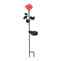 Moonrays - Moonrays Outdoor Lighting. Outdoor Polyresin Solar Powered LED Pink Rose Flower - Shop for Lighting & Fans at The Home Depot. The Moonrays Outdoor Polyresin Solar Powered Pink Rose Flower LED Stake Light adds a decorative touch to your pathway, patio or garden, all while taking advantage of solar energy. Made of polyresin and metal, this flower complements your garden by day and illuminates at night with the red LED. The LED bulb will never need to be replaced and will remain cool to the touch at all times, providing safe lighting that will not burn or heat-up. Moonrays solar lights gather energy from the sun during the day, and then automatically come on at dusk to provide outdoor lighting where you want it. The (1) rechargeable battery (included) charges using the sun s rays and advanced Moonrays solar technology to provide light for up to 8-hours on a full battery charge. This pink rose light is perfect for gift giving any time of the year and offers an alternative to real roses. The Moonrays Outdoor Polyresin Solar Powered Pink Rose Flower LED Stake Light has a 23.5 in. above ground height and provides great color in your garden. Let Moonrays help make your outdoor settings as livable, enjoyable and charming as any room in your home. The Moonrays Outdoor Polyresin Solar Powered Pink Rose Flower LED Stake Light comes with a 1-year limited warranty provided to the original purchaser, which protects this product from manufacturing defects in material, assembly and workmanship.