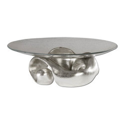 Uttermost - Uttermost 19484  Entwined Silver Leaf & Glass Bowl - Lightly champagned silver leaf with clear glass bowl.