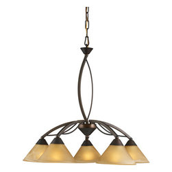 ELK Lighting - ELK Lighting 7646/5 5 Light Up Lighting Chandelier from the Elysburg Collection - *5 Light Chandelier in Aged Bronze and Tea Swirl Glass