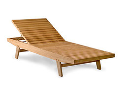 Thos. Baker - Teak Outdoor Lounge Chair with Khaki Cushions | Bainbridge Collection - Our  wing point lounger is a commercial grade piece of furniture with a clean, spare design and the widest bed in its class. The back adjusts to 5 positions, including flat, and is supported by a sturdy brass rod.