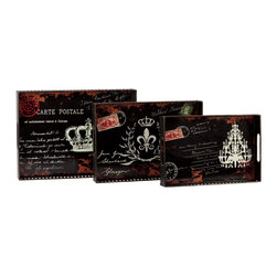 Urban Trends Collection - Black Metal French Postage Stamp Trays (Set of 3) - Add an extra touch of sophistication to your decor with this gorgeous set of black metal trays. These trays showcase an interesting French postage stamp pattern.