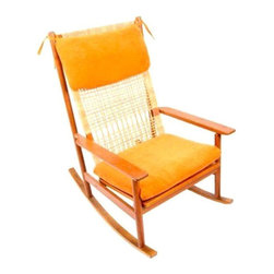 Used Hans Olsen Teak Rocking Chair with New Upholstery - Consider our world ROCKED! This gorgeous piece features a woven seat back and newly made vivid orange cushions that really make it stand out. The frame is in excellent condition and the headrest is removable. We're sold!