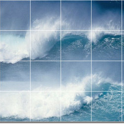 Picture-Tiles, LLC - Waves Photo Wall Tile Mural 118 - * MURAL SIZE: 32x48 inch tile mural using (24) 8x8 ceramic tiles-satin finish.