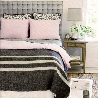 Casart coverings - Removable and Reusable Faux Padded Casart Headboard - Casart removable faux padded hearboard wallcovering is featured in Country Living as perfect accessory for any bed. Photo by Country Living. Product Credit: Casart Coverings.
