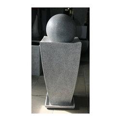 Screen Gems - Long Square Planter w Ball Fountain - Stone planter with ball fountain. 14 in. L x 14 in. W x 45 in. H (42 lbs.)