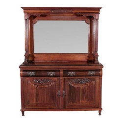 Antiques - Antique English Solid Walnut Carved Buffet Sideboard Server w/ Mirror - Country of Origin: England