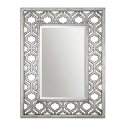 "Uttermost - Sorbolo Antiqued Silver Leaf With Black Undertones Rectangular Mirror - Frame Features A Decorative Design Finished In Antiqued Silver Leaf With Black Undertones. Mirror Is Beveled. May Be Hung Horizontal Or Vertical. Frame Dimensions: 30.75""W X 40.375""H X 2.25""D; Mirror Dimensions: 18""W X28""H; Finish: Antiqued Silver Leaf With Black Undertones; Material: MDFYes; Beveled: ; Shape: Rectangular; Weight: 22; Included: Brackets, Ready to Hang Vertically or Horizontally"