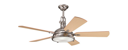 """Kichler 4-Light Ceiling Fan - Brushed Stainless Steel - Four Light Ceiling Fan From the Hatteras bay collection, this lighting ceiling fan features industrial styling and a Fresnel lens. The brushed stainless steel finish compliments the clean look of the reversible light oak and medium oak fan blades. 188mm x 25mm motor size. 56"""" blade sweep with 14 blade pitch. Includes 12"""" downrod with 1"""" (o. D. ). Cooltouch control system (included). Downlight integrated: uses (4) e-12, 40-watts krypton t-3 lamps (included). 3 speeds - forward & reverse. Flush mount canopy (included)."""