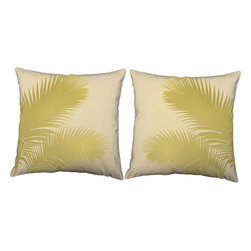 RoomCraft - Gold Palm Fronds Pillow Covers 16x16 Natural Cotton Shams - FEATURES: