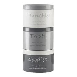 GLOBAL AMICI - 3-Stack Metal Jar - Our 3 stack metal canister has the words munchies, treats and goodies on the metal canisters. Use for storing candy, cookies and other treats.
