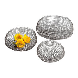 Columbus Weave Baskets - Set of 3 - What will they hold besides your imagination? A cluster of blooms cut short and plentiful. A collection of antique postcards. Bric-a-brac to be kept neatly confined but close at hand. The Columbus Weave Baskets - Set of 3 boast an interlocking loop pattern accentuated with a Graphite color that imparts a suggestion of aged beauty.