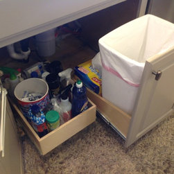 Pull Out Trash Bin - Convert any existing cabinet into a pull out trash and/or recycling center.  Keep your garbage out of sight and out of the way, yet easily accessible when you need it.